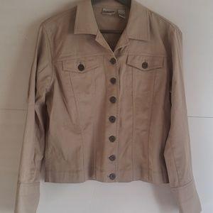 Chicos tan jacket blazer button up size 1